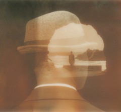 (theonlymagicleftisart) Tags: monochrome polaroid trapped head doubleexposure uv isolation spectra artlibre artlibres impossibleproject pz600