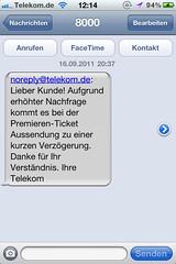 Deutsche Telekom: SMS zum Premieren-Ticket
