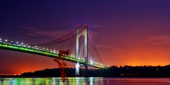 Verrazano Narrows Bridge, New York City (mudpig) Tags: nyc newyorkcity longexposure bridge red mist ny newyork reflection tree fog brooklyn night sunrise geotagged dawn lights nikon exposure view nocturnal suspension gothamist statenisland forthamilton hdr narrows bayridge d300 verrazano verrazanonarrows beltparkway mudpig harborentrance stevekelley stevenkelley