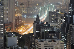 brooklyn bridge from tribeca at night, nyc (andrew c mace) Tags: above nyc newyorkcity longexposure roof rooftop skyline brooklyn night cityscape manhattan aerial brooklynbridge tribeca lowermanhattan nikkor70300mm colorefex nikoncapturenx nikond90