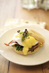 hollandaise (lavendars) Tags: morning food breakfast milk bacon day sauce australia melbourne victoria honey meal bagel eggs brunch sprouts chai spinach toasted hollandaise poached