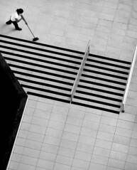 Sweaping the stair (Carlos Ebert) Tags: bw stairs composition stair noiretblanc topview janitor sweeping