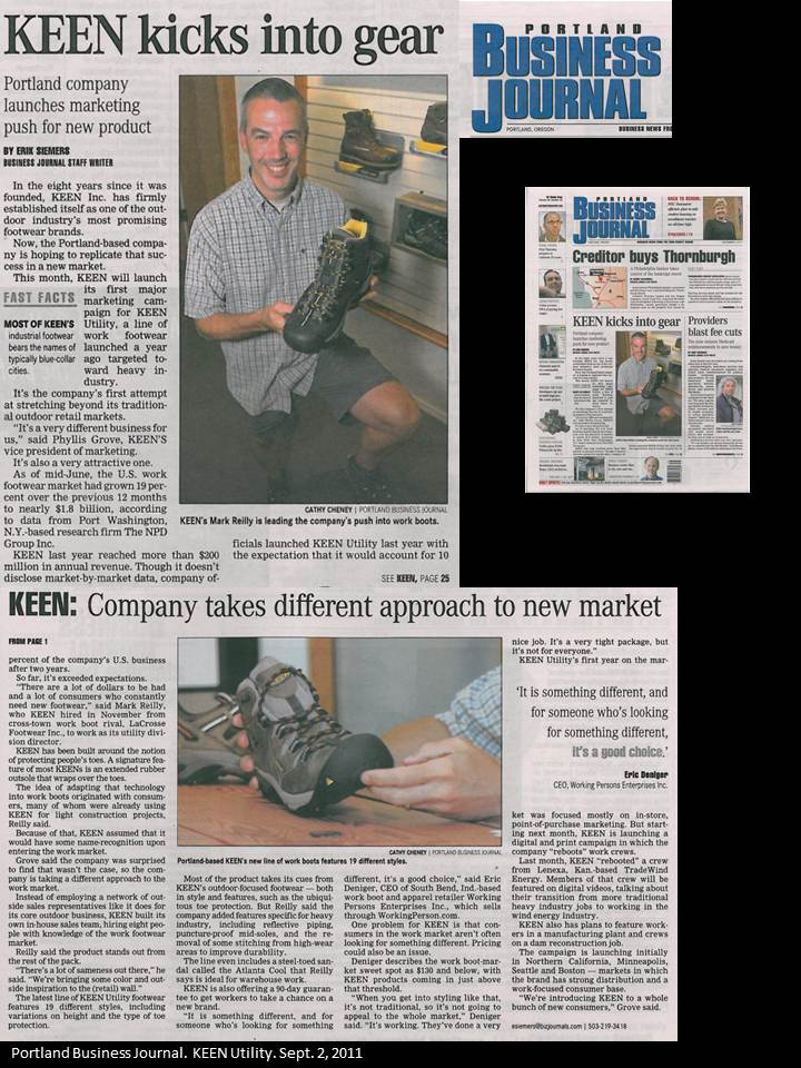 Portland Biz Journal - KEEN Utility Sept 2 2011