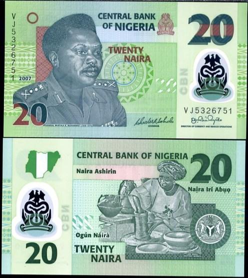20 Naira Nigéria 2007, Pick 34c