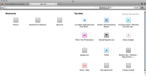 Mozilla Firefox UX - New Tab