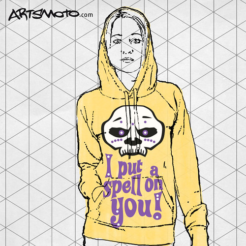"Flickr Monkeycrisisonmars - Girl With Yellow Sweater And Voodoo Print (""I Put A Spell On You"")"