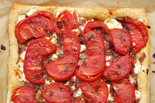 Tomato tart with caramelized onions, goat cheese and thyme by Eve Fox, Garden of Eating blog, copyright 2011