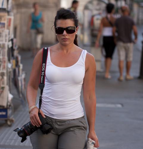 Serious photographer babe