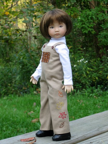 Effner Girl in Autumn Overalls by elizabeth's*whimsies