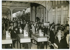 Commuters for the office off the South Steyne, Sydney, 1940 / Pix magazine (State Library of New South Wales collection) Tags: ferry wharf commuter turnstile southsteyne