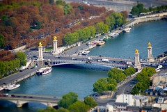 little paris from eiffel tower (bmrg) Tags: above bridge trees people urban paris france green history nature seine museum architecture river garden french boats miniature interesting king walk eiffeltower lakes visit palace musee queen tiltshift 2011