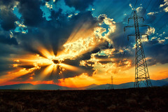Light explosion (Theophilos) Tags: light sunset sky clouds greece fields rays drama