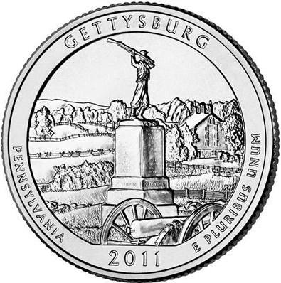 25 Centov USA 2011P Gettysburg America the Beautiful Quarter