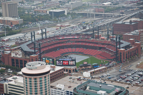 Busch Stadium seen from the Arch