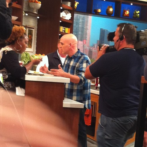 On the set at The Chew with Chef Symon