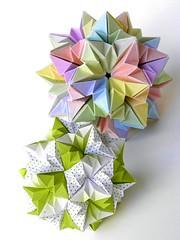 A New Kusudama by Ekaterina Lukasheva and It's Variation