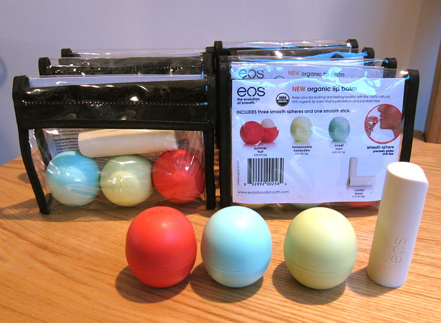 EOS lip balms, four flavours