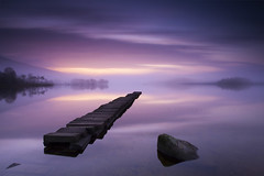 Tranquility (Stuart Stevenson) Tags: uk longexposure trees light mist rock sunrise wow photography scotland still jetty low earlymorning calm loch trossachs tranquil freshwater movingclouds lochard clydevalley lateautumn unseasonablywarm scotchmist kinlochard canon1740mm blighters thanksforviewing canon5dmkii stuartstevenson stuartstevenson whycouldntsummerhavebeenlikethis soothingexceptforthemidgies