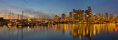 Beautiful Hour in Vancouver BC Panorama (David Gn Photography) Tags: city sunset panorama canada reflection skyline night vancouver marina boats lights evening living downtown raw bc view harbour dusk britishcolumbia scenic falsecreek bluehour yachts sailboats condos stitched condominiums buidlings charlesonpark granvillestreetbridge waterfrontproperty photomerged canoneos7d sigma2470mmf28ifexdghsm sigma50th