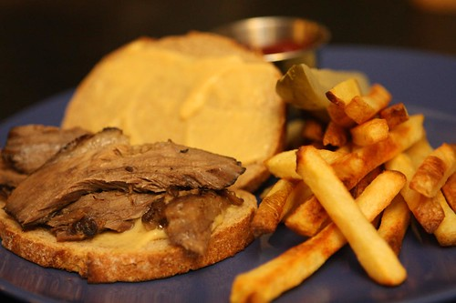 Sauerbraten Sandwich with Mustard and Oven Fries