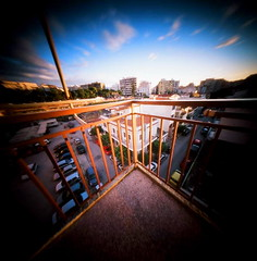 balcony (menanderman) Tags: 120 6x6 film square fuji angle balcony wide 11 pinhole velvia medium format fomat