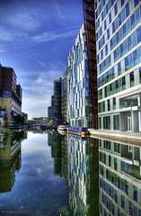 Paddington Basin (Richard Beech (rdb75)) Tags: london canon reflections canal regentscanal paddington hdr marksandspencers barges officeblocks paddingtonbasin stmaryshospital grandjunctioncanal richardbeech rdb75