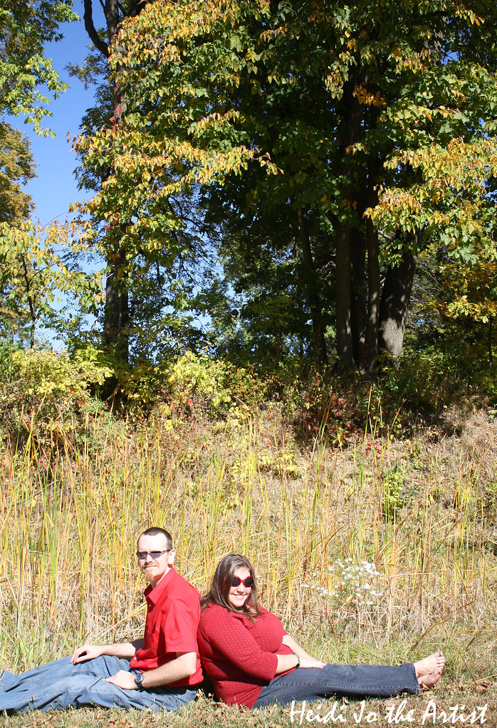 Couple in red in nature