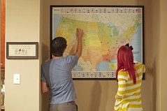 164/365 Days of Marriage (take_hart) Tags: travel red love home hair fun couple pin unitedstates map framed marriage days redhead 365 decor