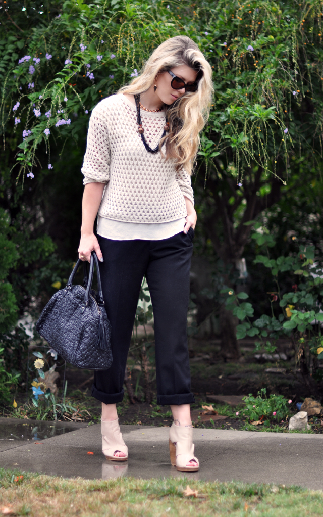 woven bag by jigsaw london - ivory sweater-vintage necklace-black cuffed trousers