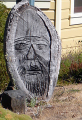 Hand-Carved Face (Glenn Harris (Clintriter)) Tags: art public face oregon wooden carved display head hoodriver musictomyeyeslevel1