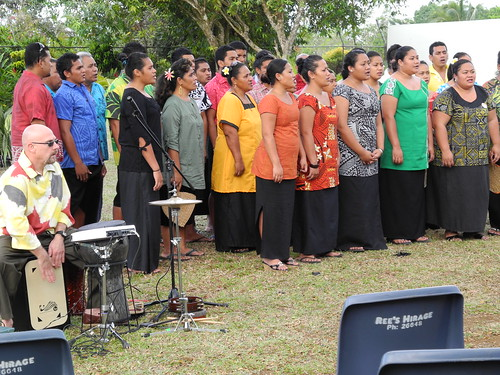 Tom performing with a church choir from the Congregational Christian Church of Samoa at Alamagoto Church