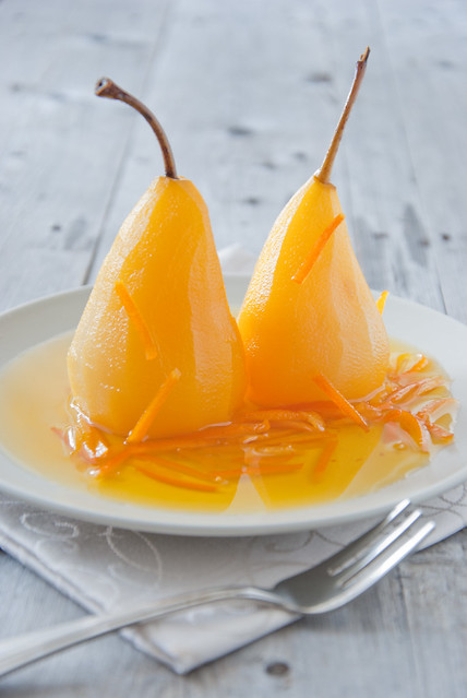 Pears in honey-saffron syrup