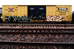 ORINGE  KERSE (TRUE 2 DEATH) Tags: railroad streetart art train graffiti rainyday graf trains railcar spraypaint boxcar railways railfan freight amfm freighttrain rollingstock oringe ttx kerse benching freighttraingraffiti