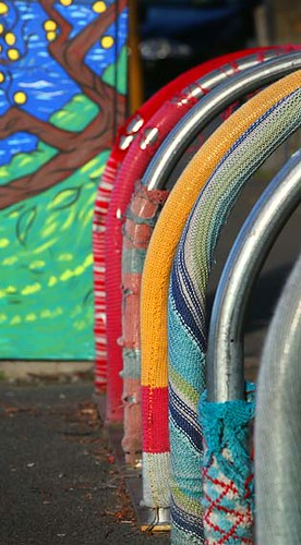 YARN BOMBING on the bike racks in Murray Street Hobart