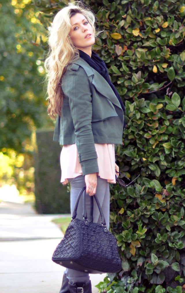 Fall Outfit - gray jeans - army green  jacket-long hair