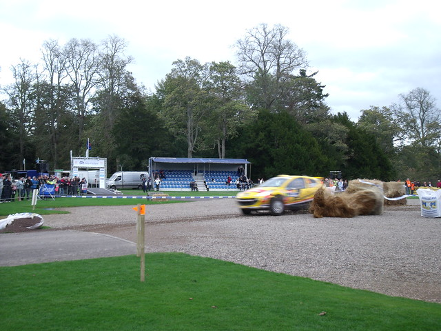 Neuville takes out a hay bale