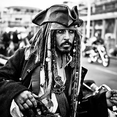 Captain Jack Sparrow (SPIngram) Tags: pictures street uk england people blackandwhite bw festival portraits 35mm beard sussex mono photo costume nikon brighton candid coat clothes motorbike photograph pirate motorcycle british seafront piratesofthecaribbean captainjacksparrow 500x500 maderiadrive simoningram d300s spingram streetphotographycandidstreetportrait brightona2011
