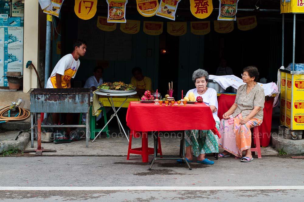 Waiting @ Phuket Vegetarian festival 2011, Phuket, Thailand