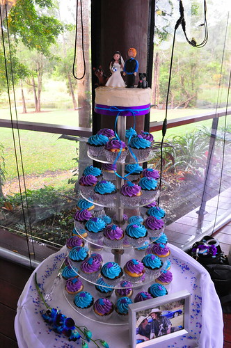 Purple and turquoise wedding cupcakes Double choc mud and raspberry white