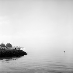 Lonely Day (DowntownRickyBrown) Tags: 120 water fog mediumformat berkeley fisherman pointisabel selfdeveloped fujineopanacros rolleiflexsl66 carlzeissplanar80mm28 ilfosol3