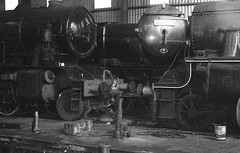 Inside a maintenance shed on the SVR c. 1980 (OG47) Tags: bw film train railway steamengine svr steamlocomotive severnvalleyrailway ilfordfp4 zenitttl blackwhitefilm black5 45110 maintenanceshed