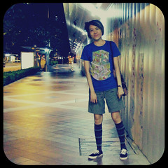 Walkway (am-y) Tags: blue girl fashion socks female asian outfit stripes femme chinese style tshirt sneakers converse form stripedsocks bermudas singaporestreetfashion