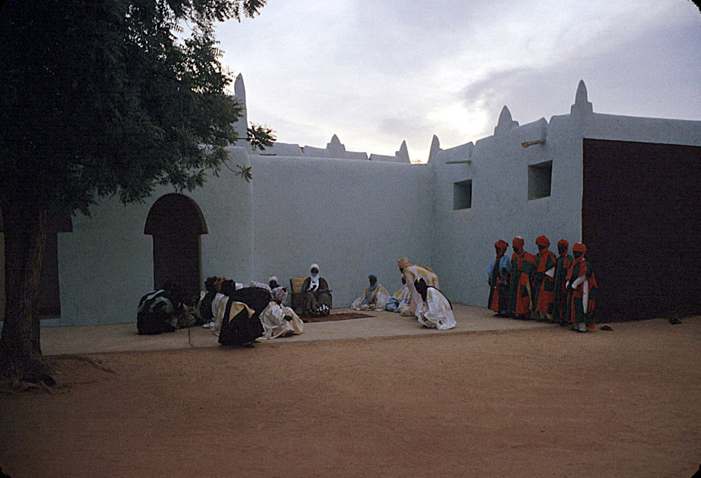 The Emir of Katsina, Sir Alhaji Usman Nagogo, holding a morning greeting ceremony, Katsina, Nigeria 1959. eepa_16276