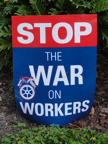 A Teamsters Union sign