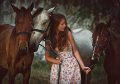 A Girl with a Ginger Hair (tchebotarev) Tags: life travel summer horses nature portraits dawn evening pretty dress dominicanrepublic calm polly polina puntacana