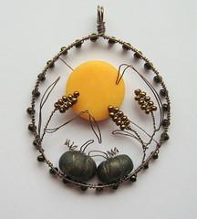 Harvest Moon (Louise Goodchild) Tags: uk autumn orange moon fall silhouette pumpkin wire corn wheat harvest polymerclay etsy challenge pendant cobwebscache louisegoodchild wiregoddessteam