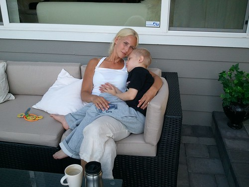 A mother and her sleepy cancer child... picture taken Sept 5.