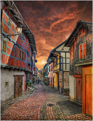 the curtain (Jean-Michel Priaux) Tags: road house france window architecture fairytale photoshop painting way nikon niceshot village curtain medieval alsace ruelle rue rideau pavel colombage patrimoine wow1 pitoresque d90 pittoresque patrimony eguisheim priaux mygearandme