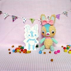 Bon Bon Bunny Amigurumi Doll (One Love Cottage) Tags: cute rabbit bunny art toys dolls handmade turquoise crafts crochet kawaii doodles amigurumi crochetdolls amigurumidolls amigurumitoys