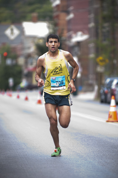 A runner nears the finish line.